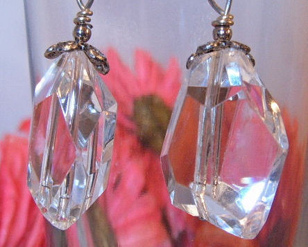 Earrings Sterling Silver Huge Chunky Clear Crystals