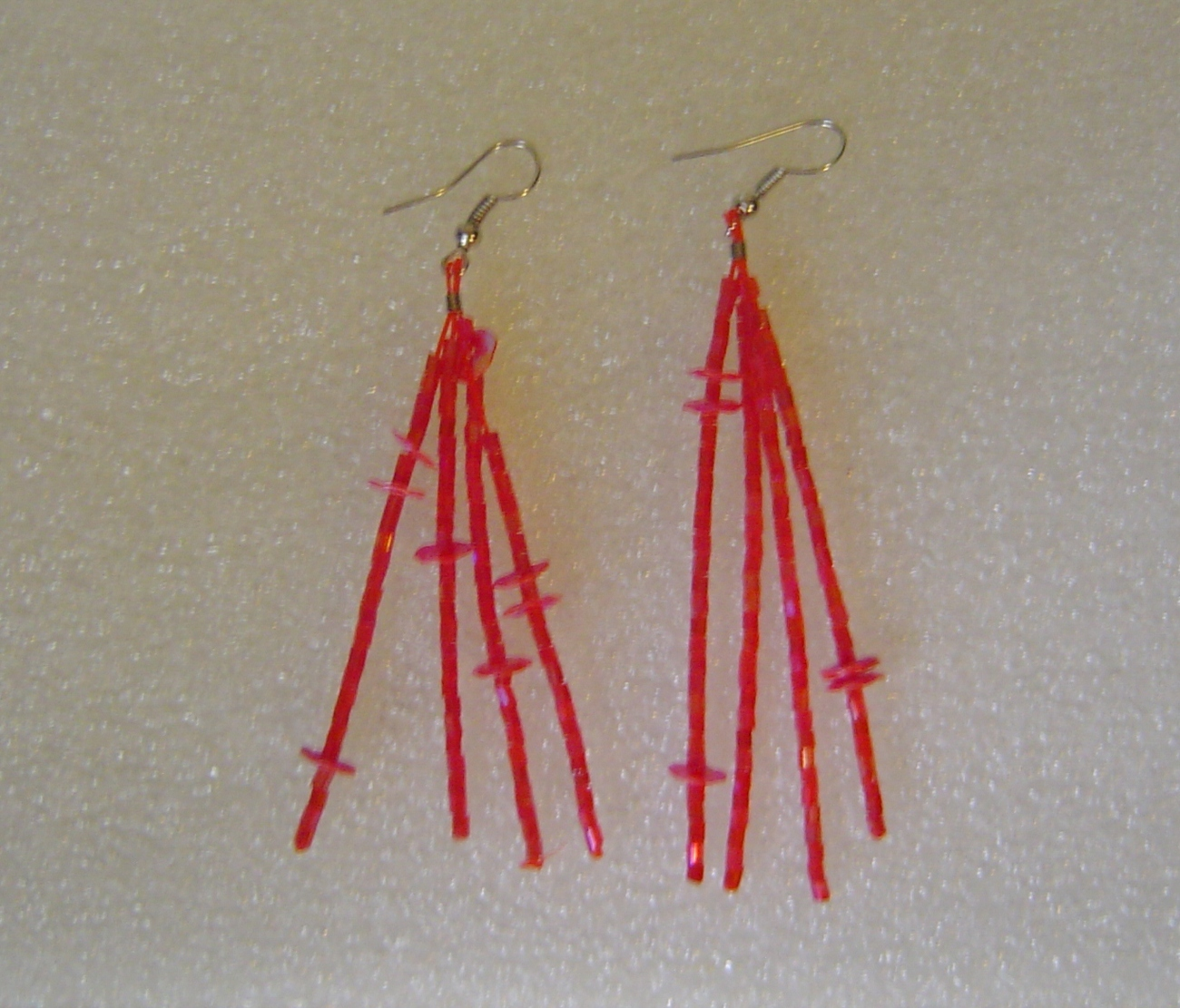 Hot Pink Dangle Seed Bead Chandelier Earrings Pierced Ears