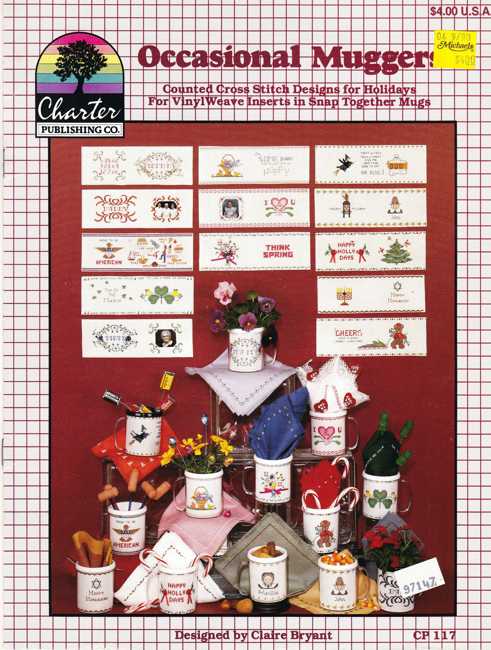 COUNTED CROSS STITCH OCCASIONAL MUGGERS BY CLAIRE BRYANT BOOK #CP 117