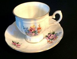 Crown Staffordshire Teacup & Saucer Vintage Bone China Flower Bouquet - $27.72