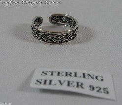 Oxidized Sterling Silver Braided Toe Ring - $15.99