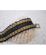 """All Square"" Bronze & Black Beaded Bracelet; Hand Woven With Tila Beads - $32.00"