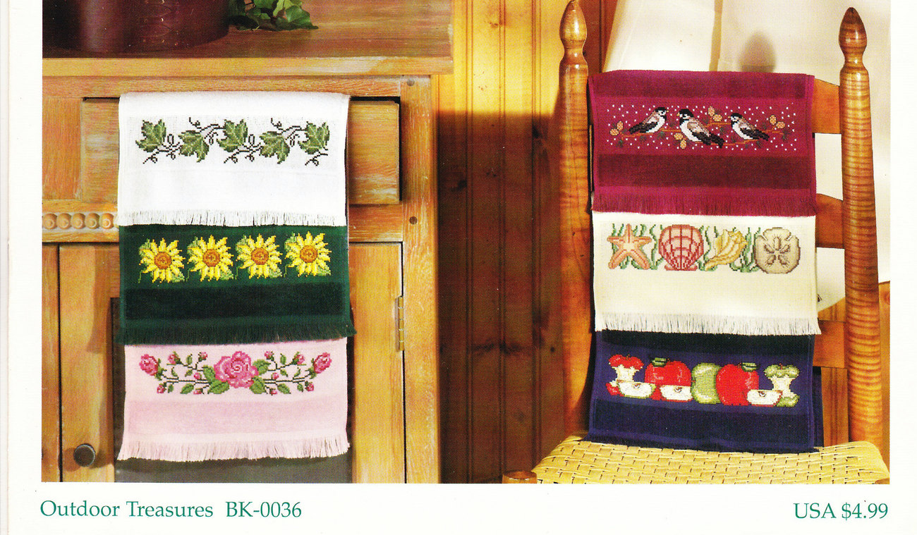 COUNTED CROSS STITCH OUTDOOR TREASURES ROSE CHICKADEES SEA SHELLS APPLES IVY