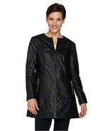 Dennis Basso Faux Leather Zip Front Topper Coat, Black , Size XS, MSRP $109 - $49.49