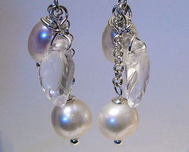 Earrings sterling clear crystal and cultured pearls thumb200