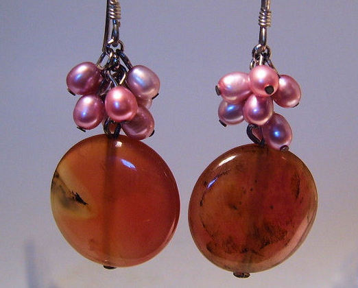Earrings Sterling Silver Genuine Jade Fresh Water Pink Pearl