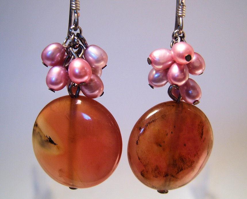Earrings Sterling Silver Genuine Jade Fresh Water Pink Pearl