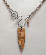 2 Sided Rust Brown Mosaic Clay Pendant Copper Gray Handmade Steel Necklace  - $109.00