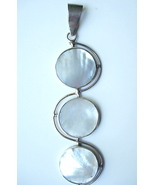 Dramatic Long Sterling Silver & Mother of Pearl Pendant - $30.00