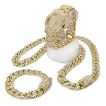 Men Hip Hop Iced Out Gold Tone Lab Diamond WATCH, Cuban Bracelet & Neckl... - $72.26+