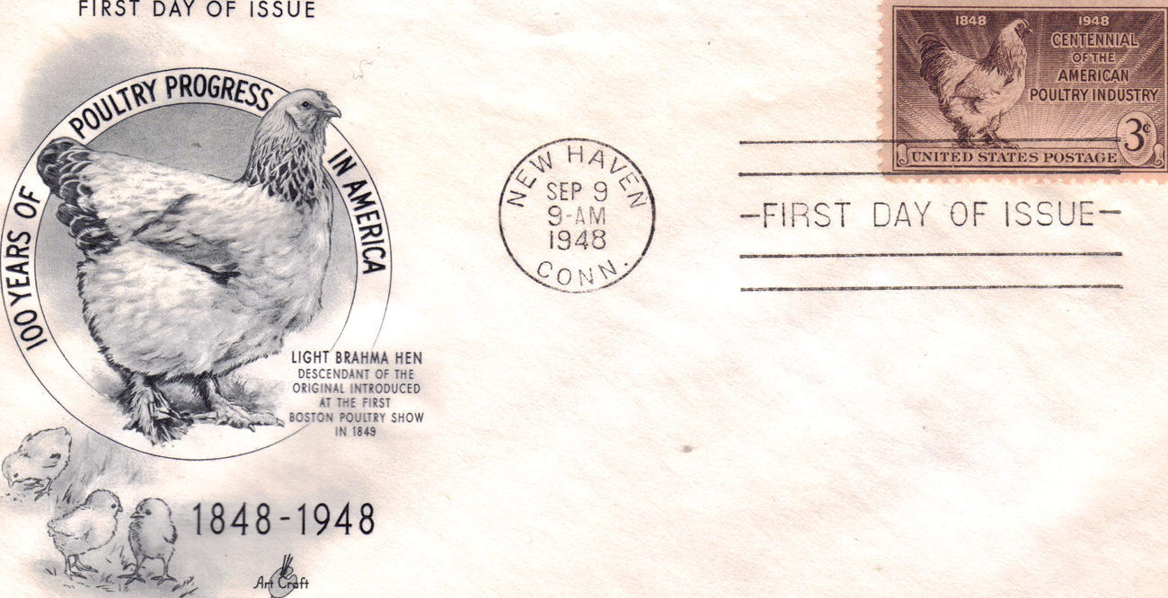 1948 100 Years of POULTRY PROGRESS in America 1st Day of Iss