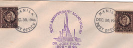 DR. JOSE RIZAL 50th Anniversary of MARTYRDOM 1946 First Day Cover Philip... - $2.95