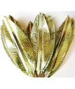 Vintage CELERY GREEN Foil Leaf Wired Pick b MARDI GRAS christmas supply - $10.67
