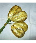 Vtg GOLD Foil Paper Leaf Corsage Hat Millinery ... - $9.29