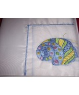 Embroidered Fabric Shower Curtain Seashell Design NEW - $12.00