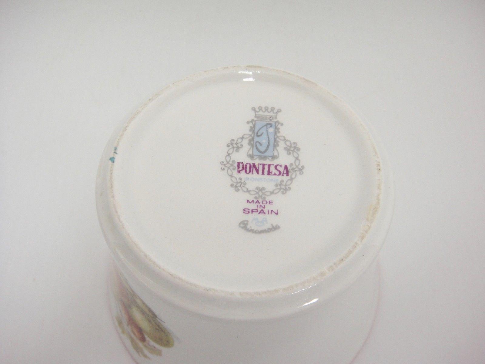 Pontesa Spain Four Cup Coffee Set Pot Sugar and Creamer Fruit Design Red Trim image 10