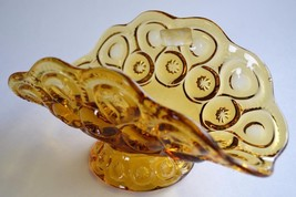 "Moon & Star Amber Glass Pedestal Banana Dish by L.E. Smith 9"" Long - $29.95"