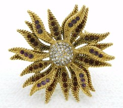 Retired Ellen Kiam Lia Sophia Gold Tone Purple Clear Rhinestone Sun Flow... - $23.76