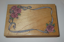 Romantic ROSE Frame Rubber Stamp Ribbon Roses Daisies Flowers Stampede  - $6.92