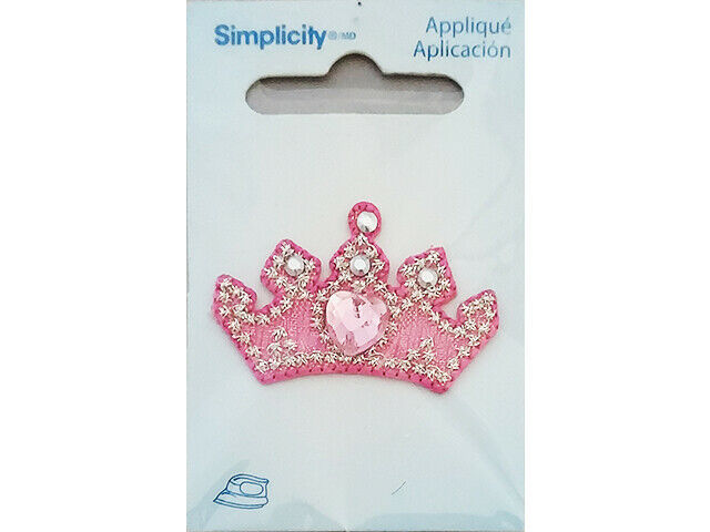 Simplicity Iron-On Applique, Pink Jeweled Crown #193412001
