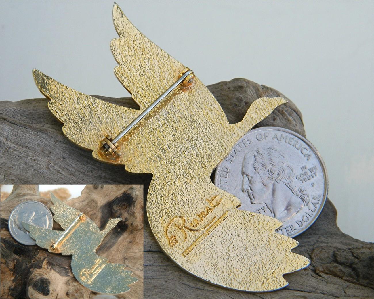 Vintage Rivest Canadian Goose Bird Modernist Brooch Enamel
