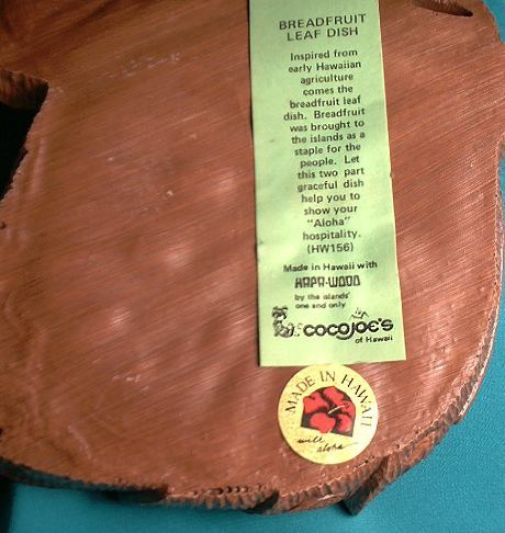 CoCo Joe's Breadfruit Leaf Nut Dish Hapa-Wood Aloha Hawaii HW cocojoe's