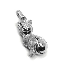 ROUNDED 18K WHITE GOLD CAT PENDANT, DOUBLE FACE, SMOOTH SATIN 22mm, 0.87 inches image 1