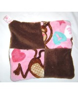 New Plush Tag Mini Security Blanket- Monkey and Heart Pink and Brown Han... - $12.99