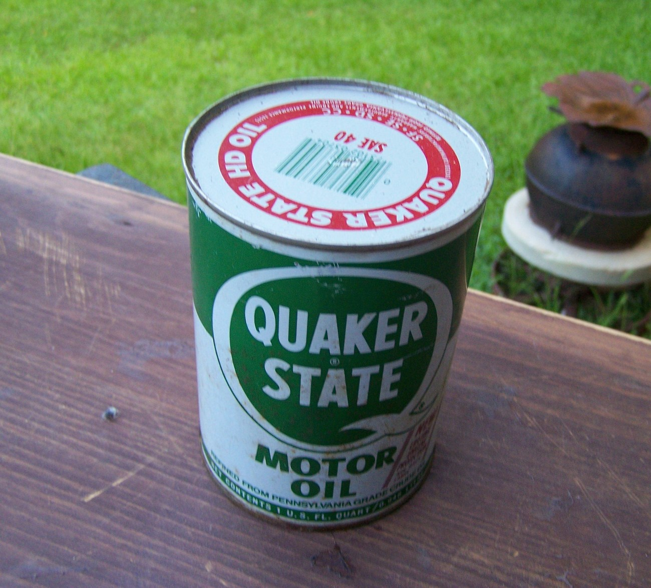 rare quaker state motor oil can nice old vintage full can