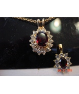 Lindenwold Fine Jewelers Ruby/Red Colored Pendant Chain Neck - $10.00