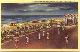 Tichnor, White Border, Linen Postcard, Cavalier Beach, Virgi - $6.00
