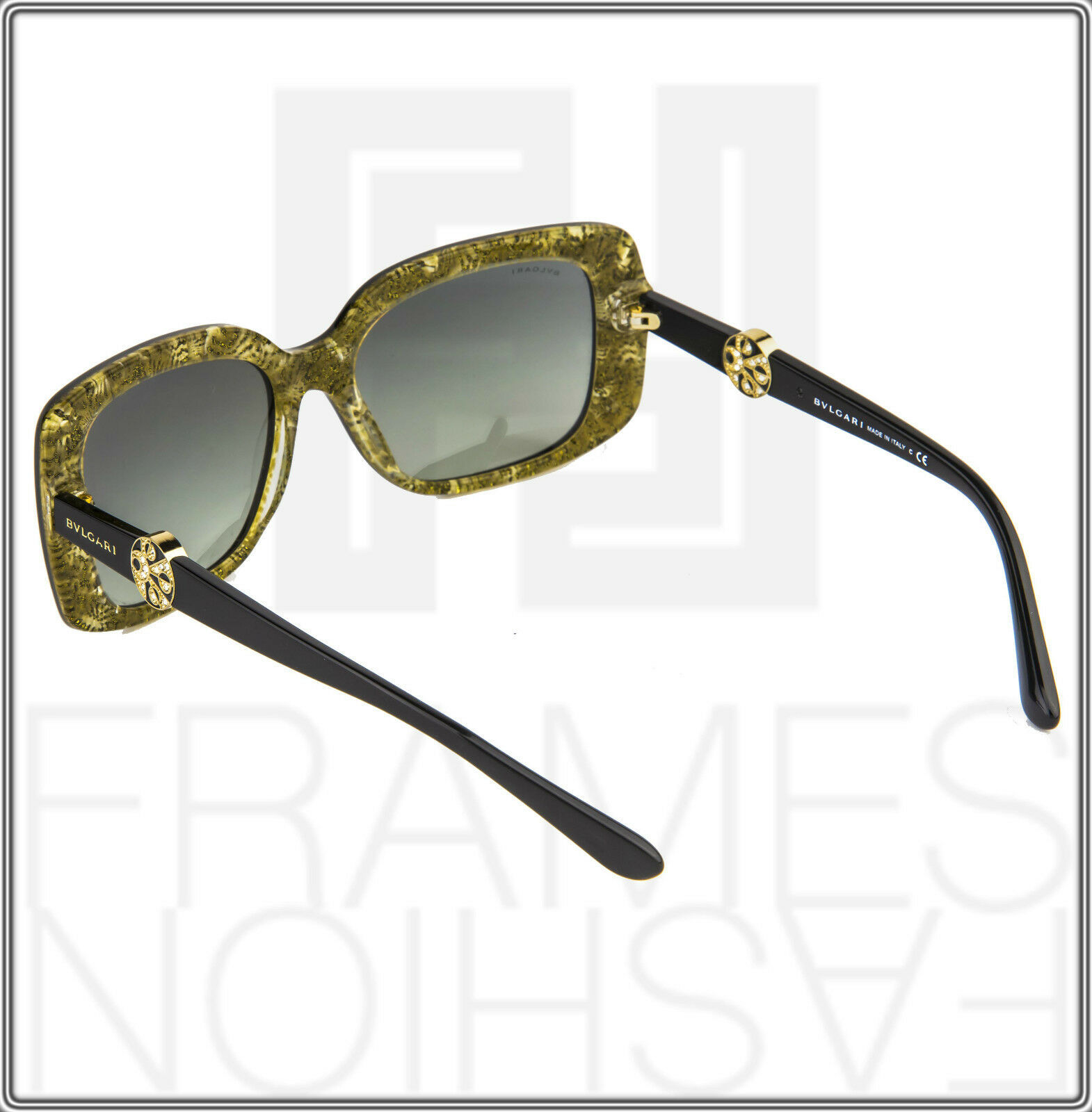 BVLGARI INTARSIO 8146B 5325/11 Black Gold Sunglasses 8146 Square Women Gradient image 4