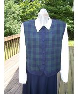 CLASSY PLAID SKIRT TOP  LONG WHITE SLEEVES WITH PLAID FRONT AND PLAID C... - $19.99