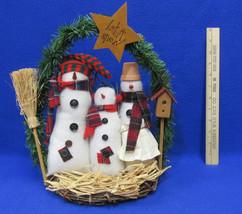 Vintage 3 Stuffed Snowmen On Twig Stand Let It Snow Christmas Winter Dec... - $10.34