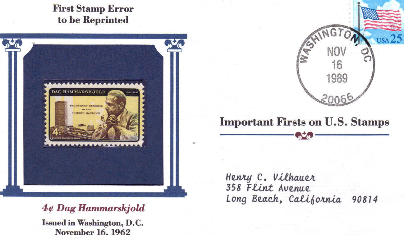 Fdc 1st stamp error