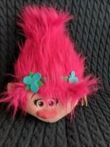 "Trolls Fuzzbies POPPY 12"" Plush Troll Head  HOT Pink Hair Dreamworks Used w/ Tag - $16.99"