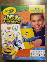 Crayola Airbrush Marker Kit Fabric Design Your Own Stencil Minions Stickers - $12.85