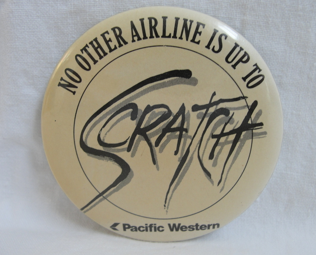Pinback Button Pacific Western Airlines Logo Vintage 1980s One Pin Badge