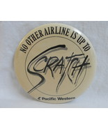 Pinback Button Pacific Western Airlines Logo Vintage 1980s One Pin Badge - $6.99
