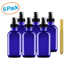 Culinaire 6 Pack Of 4 oz Blue Glass Bottles with Spray Tops and Gold Gla... - $41.69