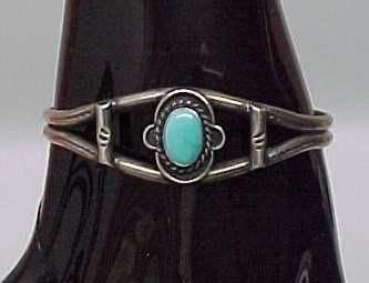 Silver Turquoise Cuff Bracelet Silvertone Tone Vintage