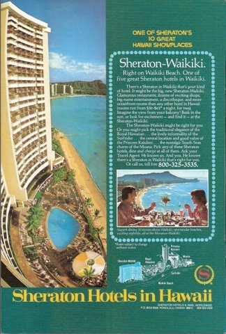 1978 Sheraton Hotels Hawaii Waikiki Beach print ad