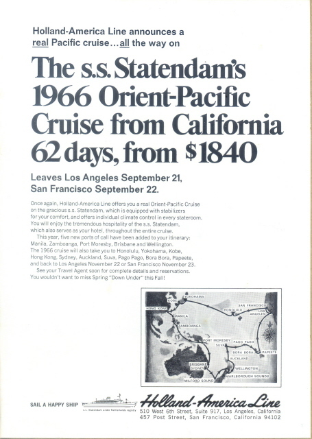 1966 Holland America Line Pacific cruise map print ad