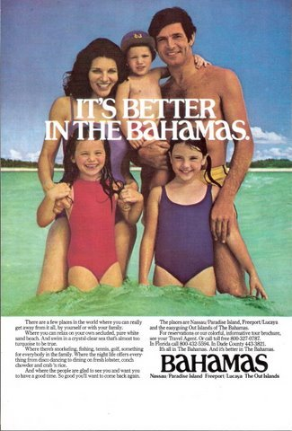 1977 Bahamas Vacation Holidays happy family print ad