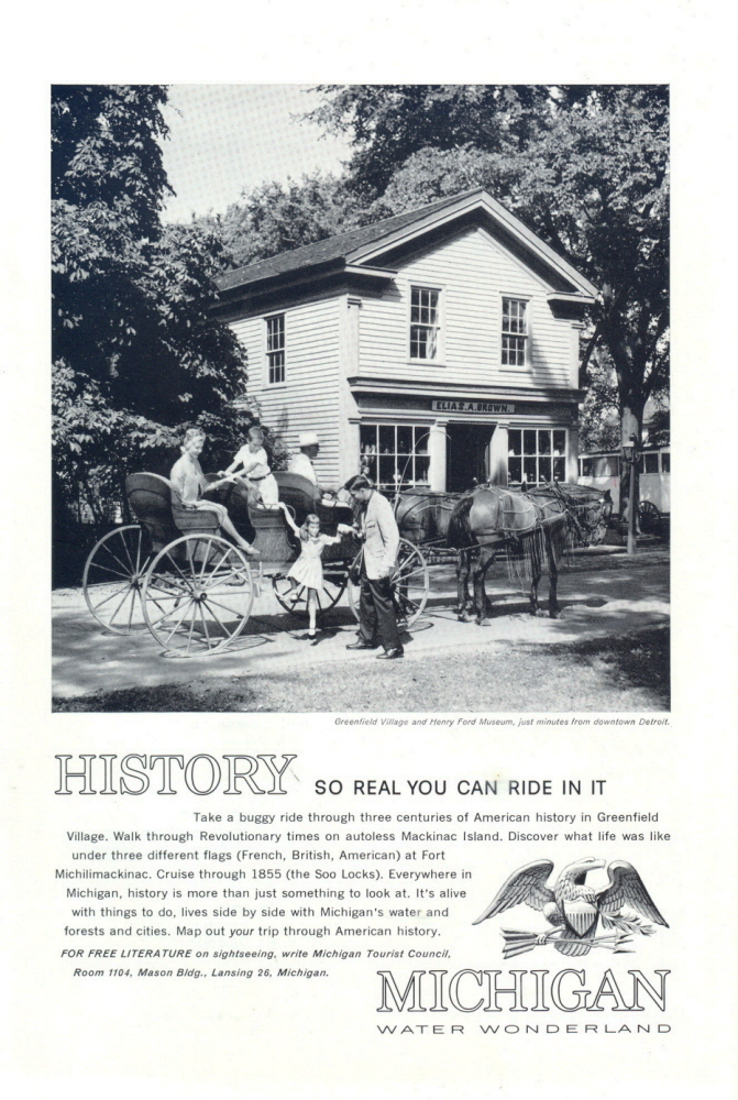 1962 Michigan Greenfield Village Henry Ford Museum print ad