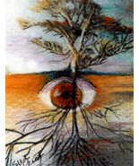 Original ACEO Drawing Surreal Eye See the Tree of life roots  Fall colors - $9.99