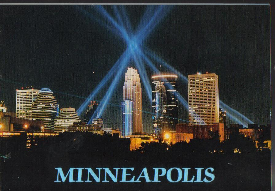 Minneapolis laser light show, Minnesota RPPC Post Card