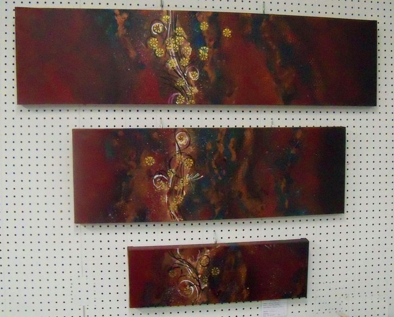 Original Art painting abstract 3 piece stretched gallery wrap canvas 48x36""