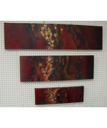 "Original Art painting abstract 3 piece stretched gallery wrap canvas 48x36"" - $895.00"
