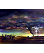 Original painting gallery wrap canvas 16x20 Tornado twister weather deva... - $375.00